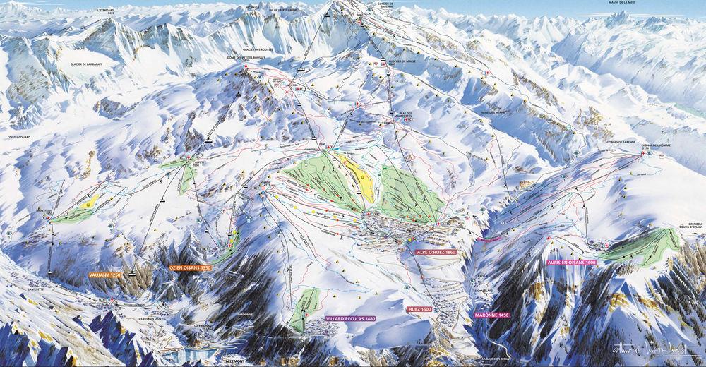 Mapa zjazdoviek Lyžiarske stredisko Alpe d'Huez
