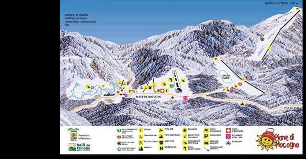 Pistenplan Skigebiet Piane di Mocogno
