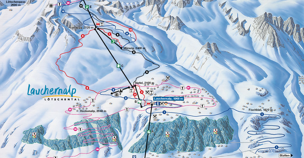 Piste map Ski resort Lauchernalp - Lötschental