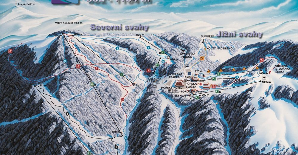 Pistenplan Skigebiet Červenohorské sedlo