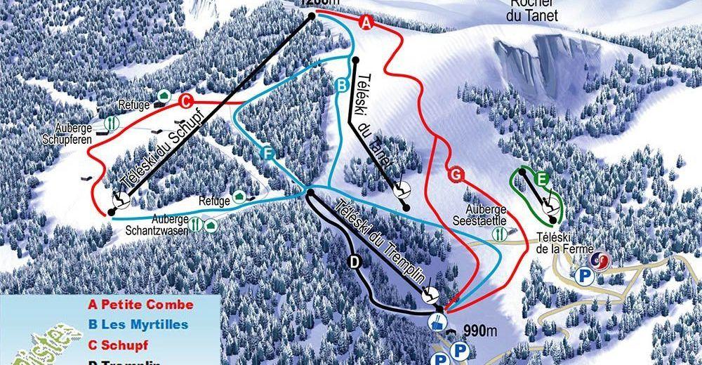 Pistplan Skidområde Le Tanet