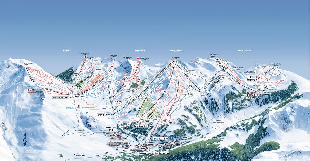 Plan de piste Station de ski Baqueira-Beret