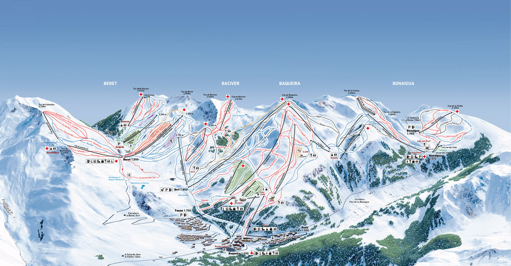 Planul pistelor Zonă de schi Baqueira-Beret