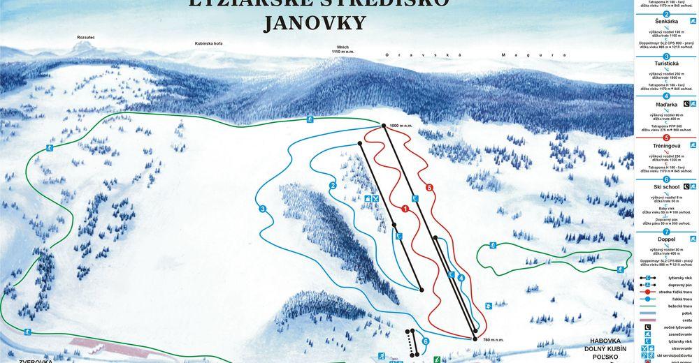 Planul pistelor Zonă de schi Zuberec - Janovky