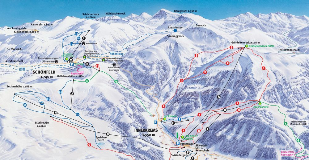 Piste map Ski resort Schönfeld - Thomatal