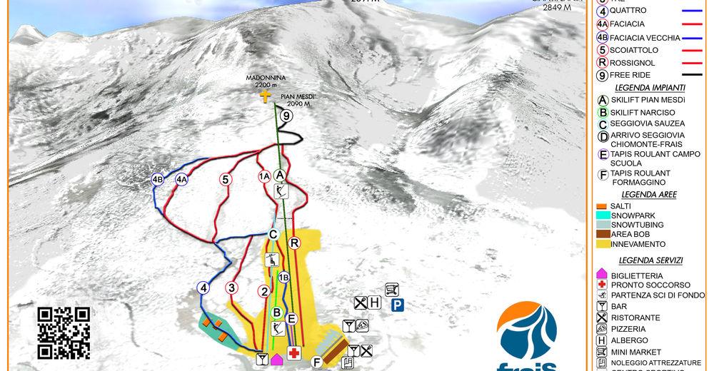 Plan skijaških staza Skijaško područje Chiomonte - Frais 2010