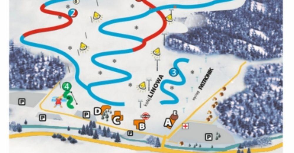 Plan skijaških staza Skijaško područje Złoty Groń