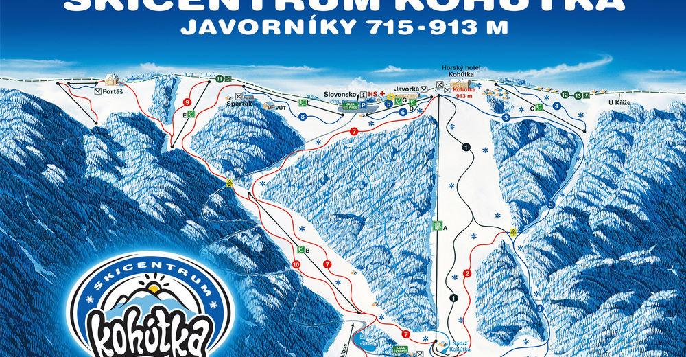 Planul pistelor Zonă de schi Kohútka