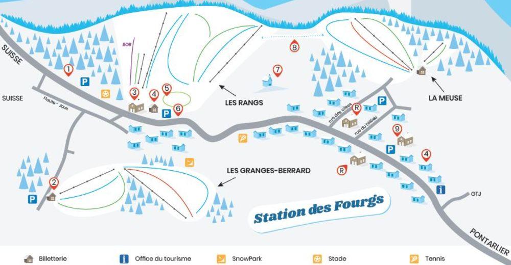 Planul pistelor Zonă de schi Les Fourgs