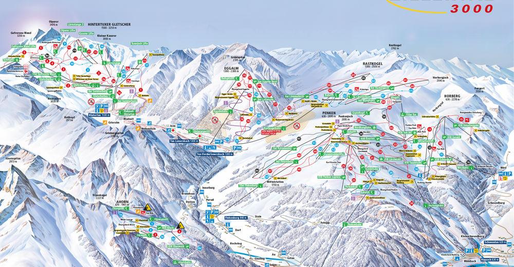 Plan skijaških staza Skijaško područje Tux - Finkenberg