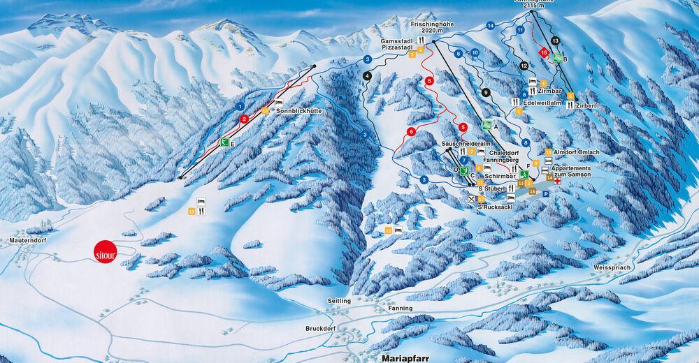 Planul pistelor Zonă de schi Fanningberg - Mariapfarr