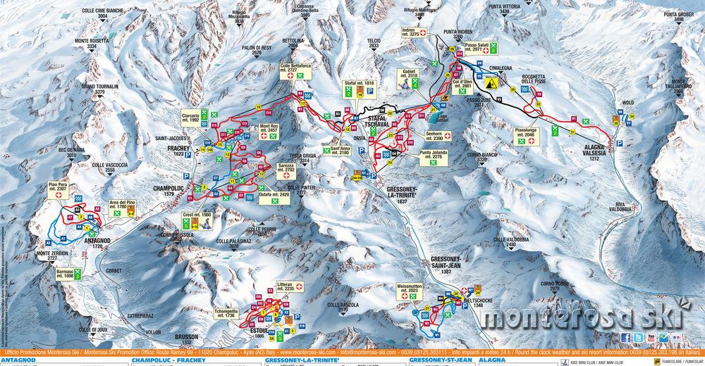 Plán sjezdovky Lyžařská oblast Gressoney - La Trinité - Alagna Valsesia / Monterosa
