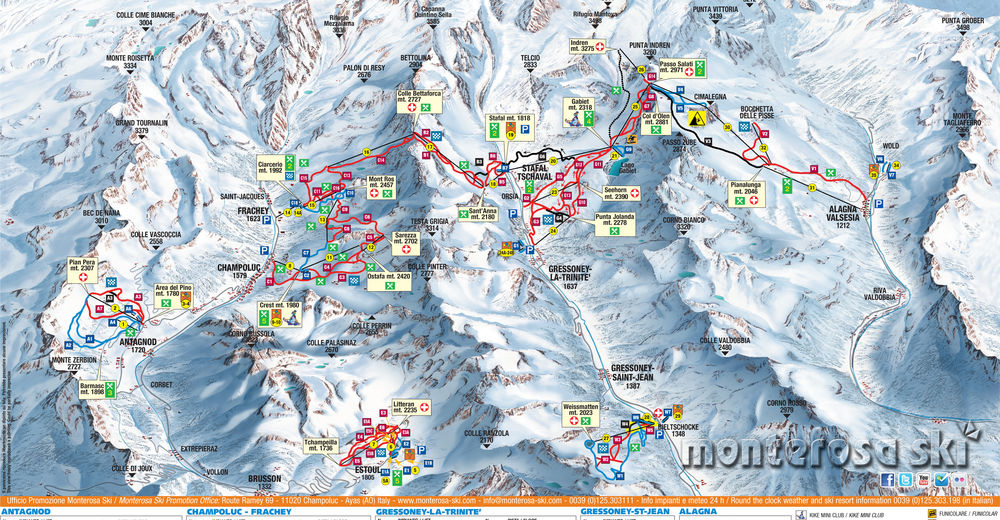 Pistenplan Skigebiet Gressoney - La Trinité - Alagna Valsesia / Monterosa