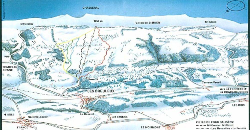 Plan skijaških staza Skijaško područje Les Breuleux