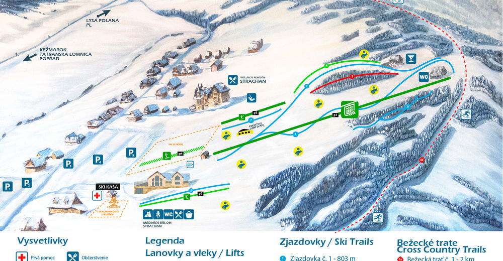 Mapa stoków Ośrodek narciarski Strachan Ski Centrum - Ždiar
