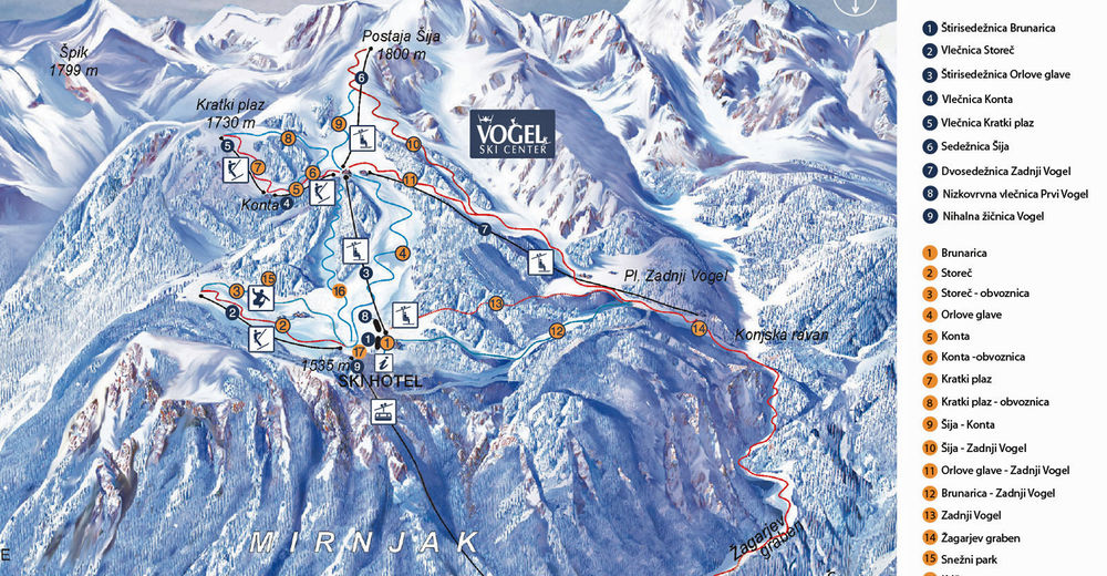 Planul pistelor Zonă de schi Vogel