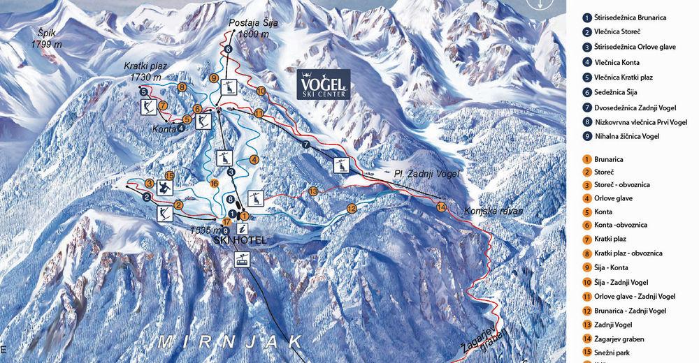 План лыжни Лыжный район Vogel