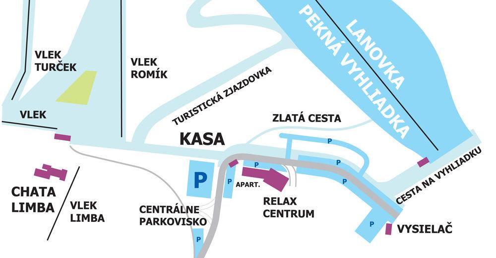 Mapa zjazdoviek Lyžiarske stredisko SKALKA arena