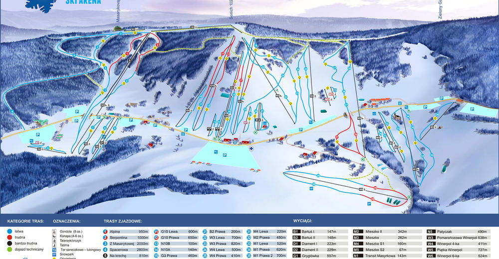 Piste map Ski resort Zieleniec