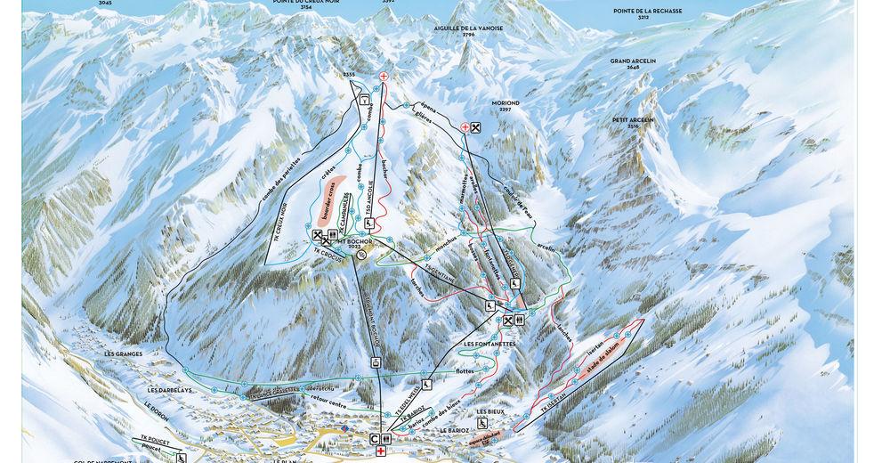Mappa delle piste Comparto sciistico Pralognan la Vanoise