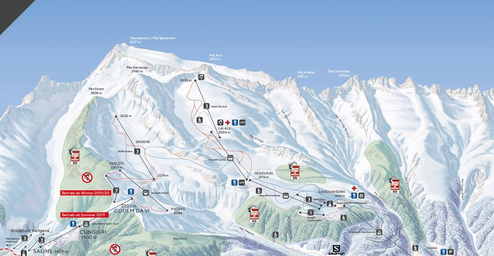 Mapa zjazdoviek Lyžiarske stredisko Disentis