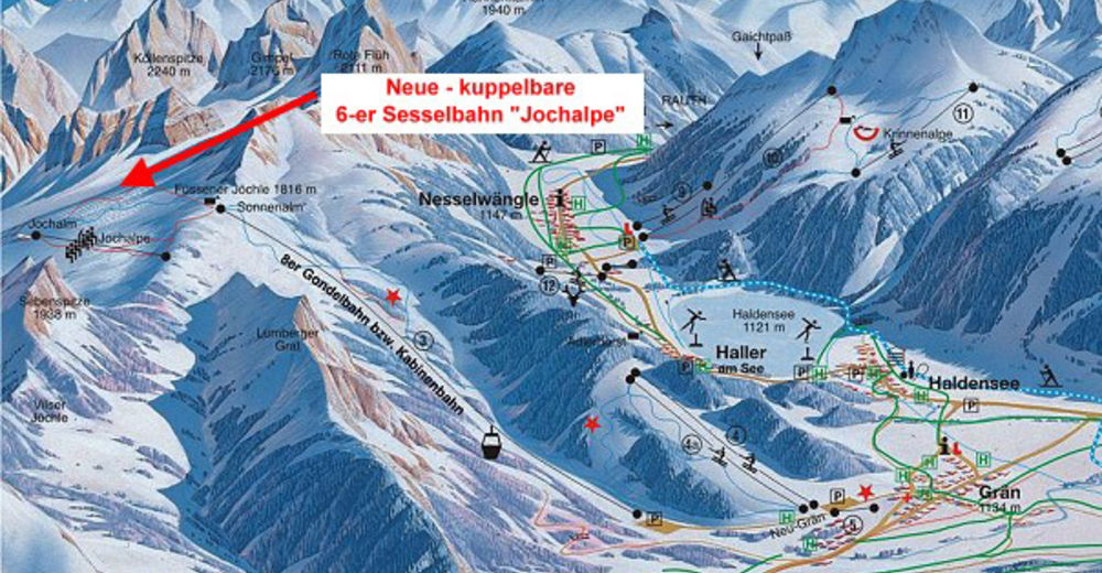 Bakkeoversikt Skiområde Füssener Jöchle - Grän