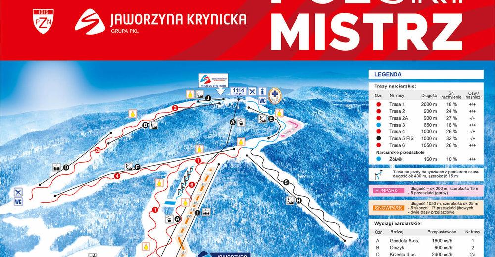 Plan de piste Station de ski Jaworzyna Krynicka