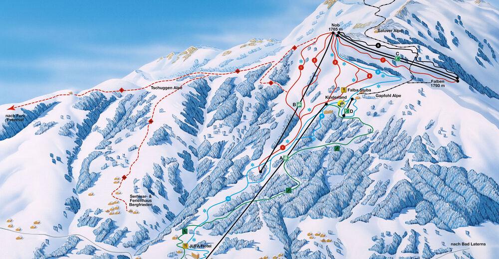 Planul pistelor Zonă de schi Laterns - Gapfohl