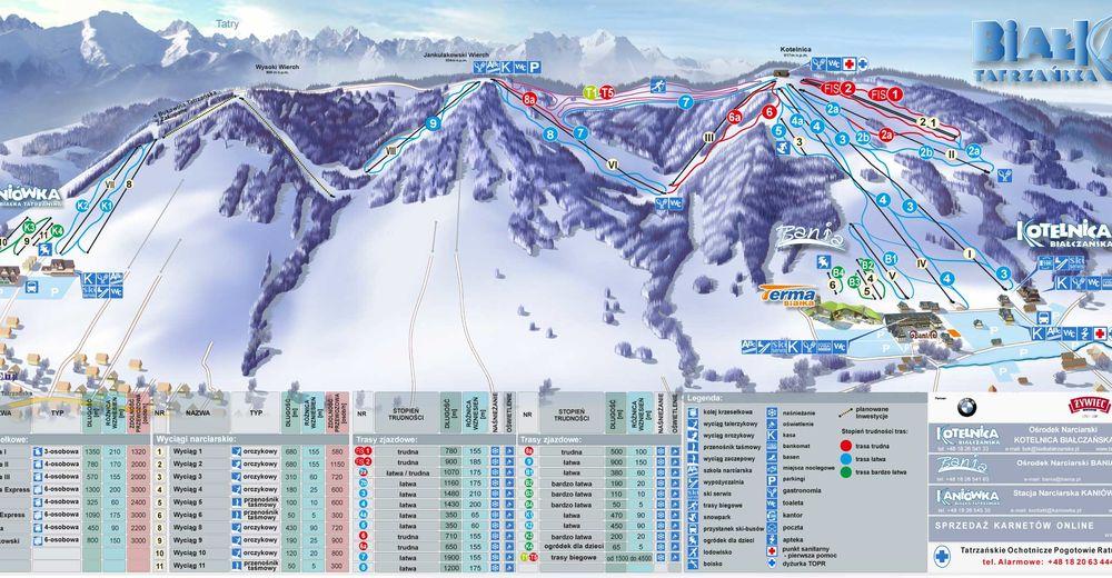 Mapa stoków Ośrodek narciarski Kotelnica Białczańska