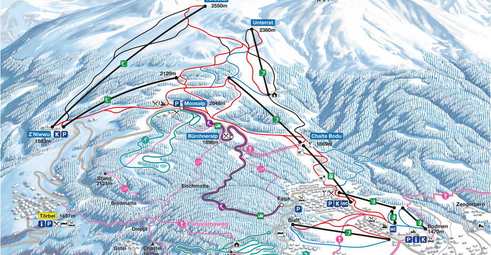 Plán sjezdovky Lyžařská oblast Moosalpregion