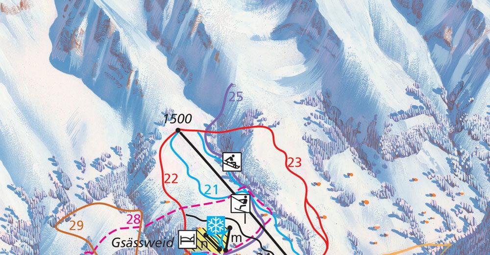 Pistenplan Skigebiet Springenboden / Diemtigtal