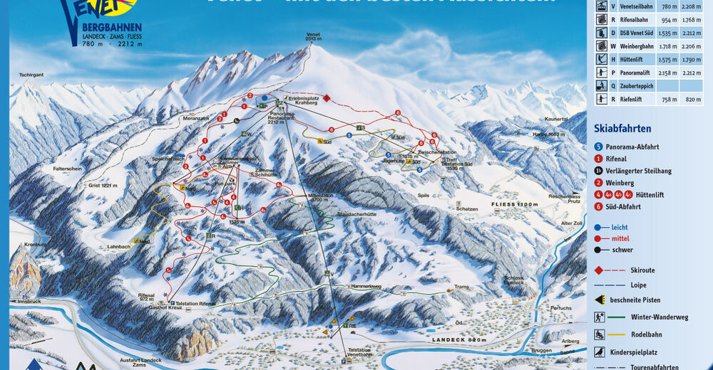 План лыжни Лыжный район Landeck - Zams - Fliess / Venetregion