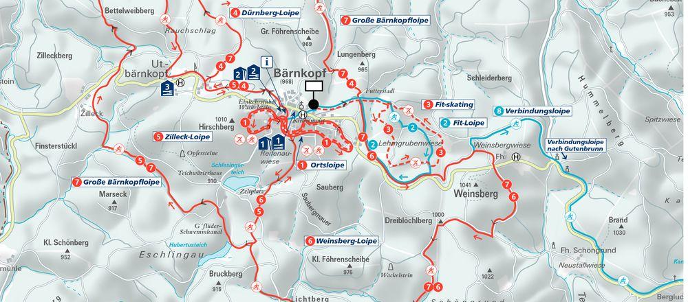Loipenplan Bärnkopf - Naturschnee- und Langlaufparadies