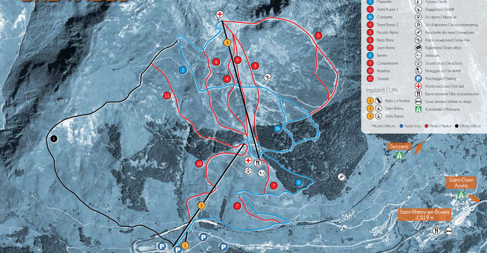 Plan skijaških staza Skijaško područje Crévacol - Saint Rhemy en Bosses