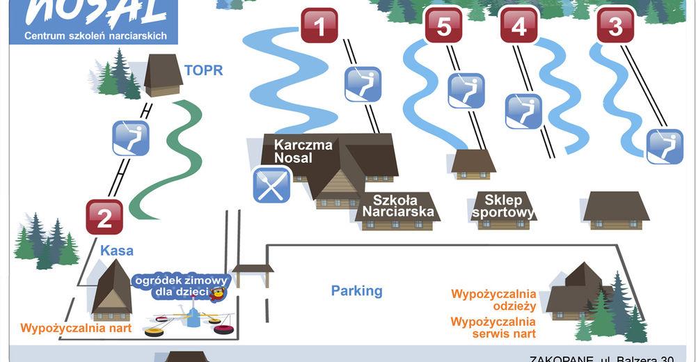 Mapa stoków Ośrodek narciarski Nosal / Zakopane