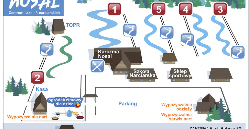 Pisteplan Skiområde Nosal / Zakopane