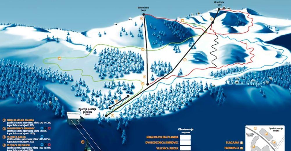 Načrt smučarske proge Smučišče Velika planina