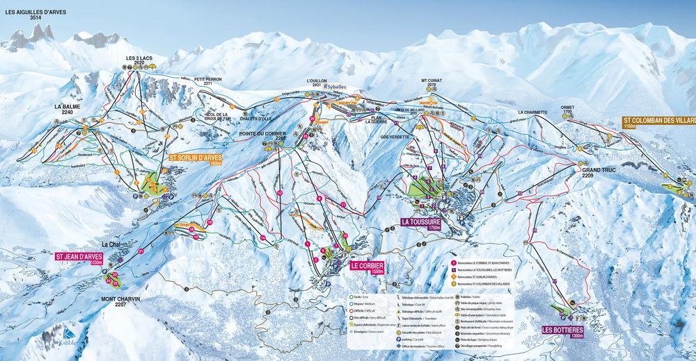 Pisteplan Skigebied Saint Sorlin d'Arves - Les Sybelles