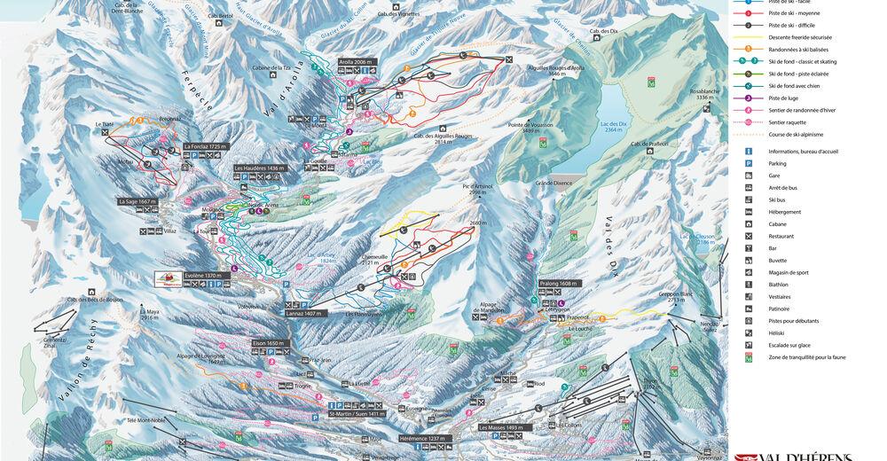 Piste map Ski resort Arolla