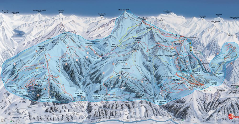 Piste map Ski resort Thyon / 4 Vallées