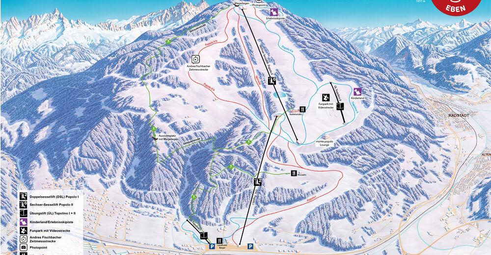 Načrt smučarske proge Smučišče Eben - monte popolo - Ski amade