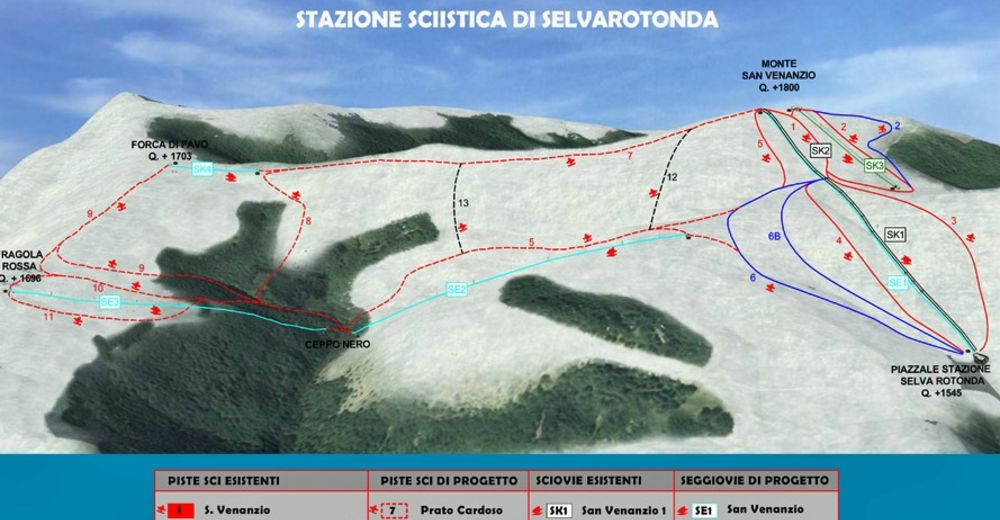 Pistenplan Skigebiet Cittareale - Selvarotonda