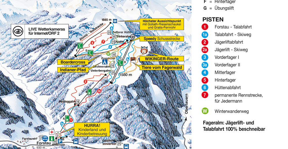 Pisteplan Skiområde Fageralm / Forstau - Ski amade