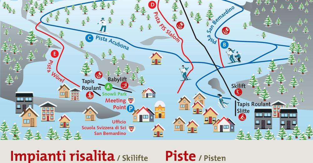 Piste map Ski resort Pian Cales / San Bernardino