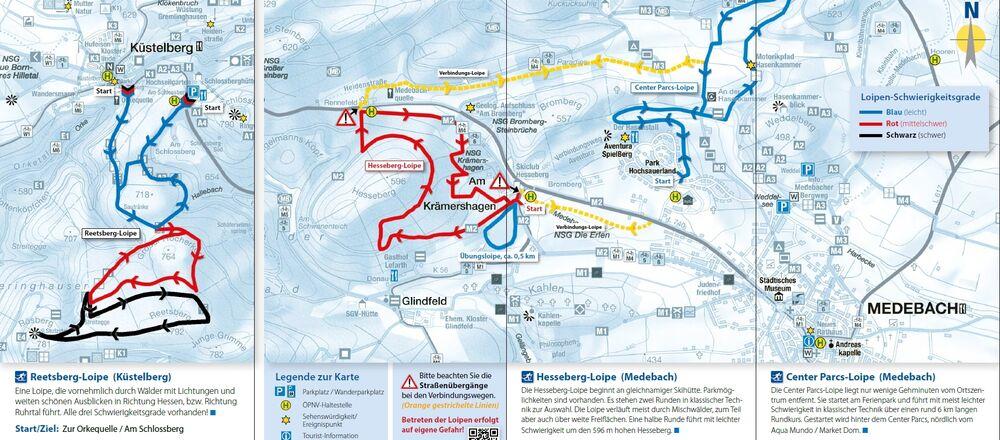 Loipenplan Medebach / Hesseberg- und Reetsberg-Loipe