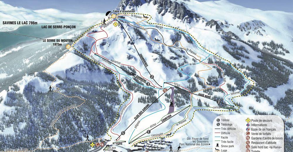 Plan de piste Station de ski Réallon
