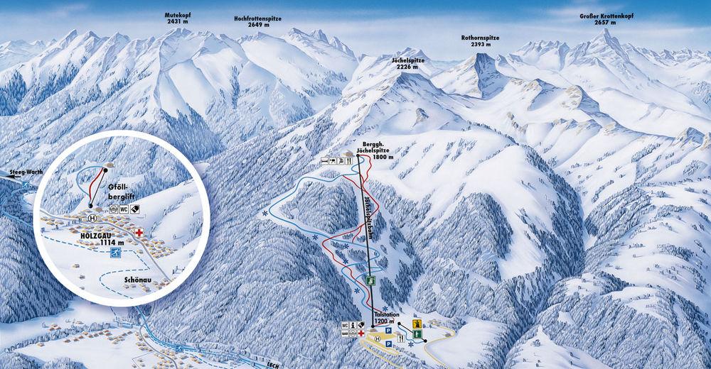 План лыжни Лыжный район Holzgau