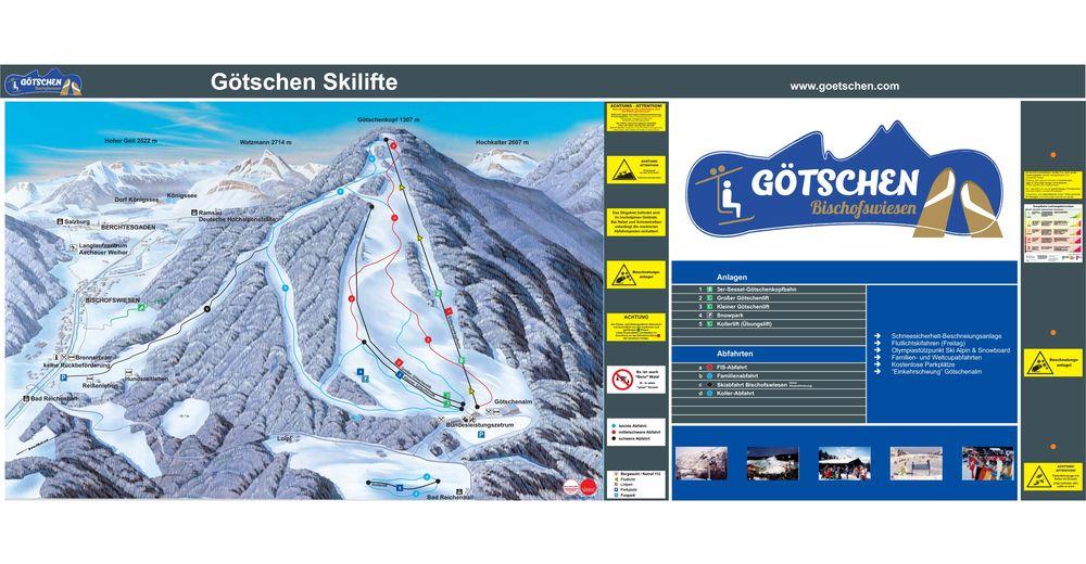 Pistenplan Skigebiet Götschen - Bischofswiesen / Berchtesgaden
