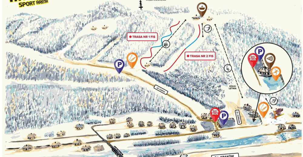 Mappa delle piste Comparto sciistico Stacja Narciarska Myślenice