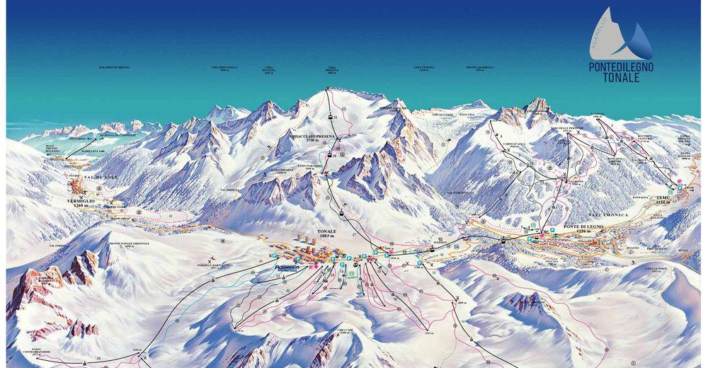 Plan skijaških staza Skijaško područje Ponte di Legno - Temù - Adamello Ski